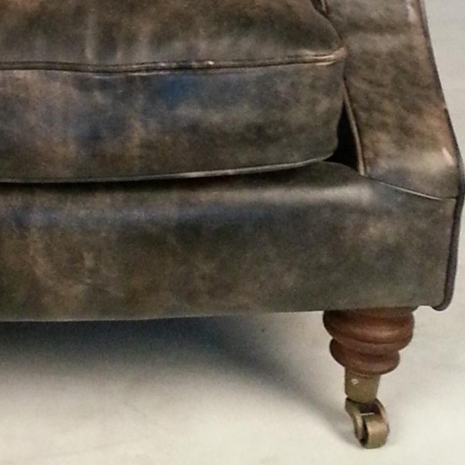 R tro traditionnel anglais chesterfield canap chaise en for Canape en cuir vieilli