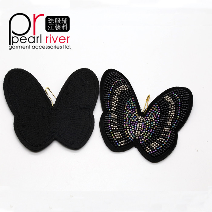 Exquisite Fashion Embroidery Sequin Butterfly shape Patch Stick Bling Beaded Clothing Corsage Patches