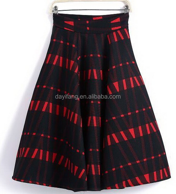 Ladies printing short skirt polyester fashion pleated skirt with lining