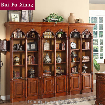 American Style Wooden Book Cabinet With Multi Layers And Handmade Carving  AI 203