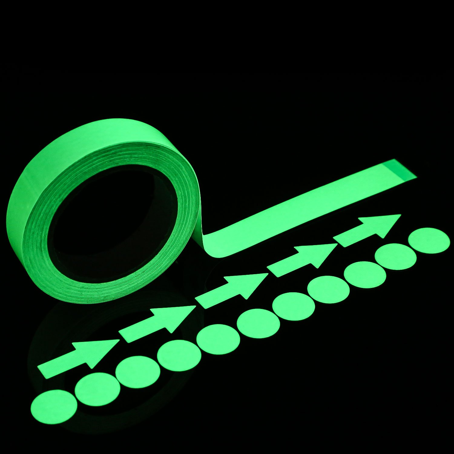 Bememo 39.4 Feet Glow Tape in the Dark with 24 Pieces Luminous Dot Tape and Arrow Sticker 1 Inch Photoluminescent Waterproof Adhesive