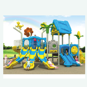 Commercial Preschool Playground Children Outdoor Equipment With Plastic Double Slide