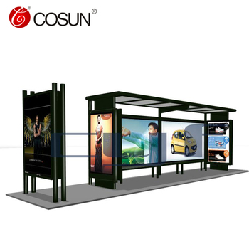 Street Steel Structure Solar Bus Stop Station Tram Stop Shelter