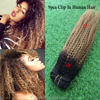 Ombre Afro Kinky Curly Clip In Hair Extensions for African women wholesale  alibaba afro hair clip 8cf6e8bbe0