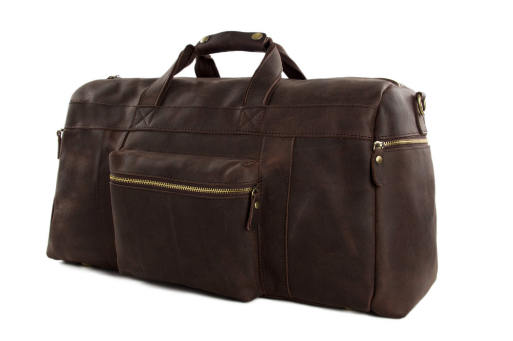 "ROCKCOW Vintage Genuine Leather Cowhide 23"" Large Capacity Travel Luggage Men Duffle Gym Bags 1098"