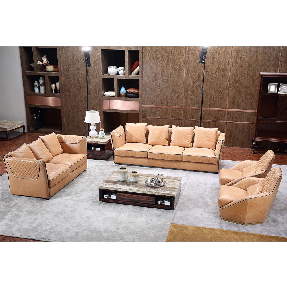 Ordinaire Foshan Guangdong Luxury Cow Leather Furniture Modern Living Room Sofa