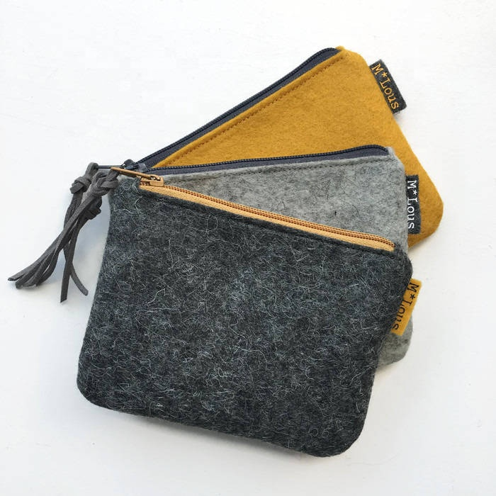 Wholesale small size wool felt coin purse pouch with customized logo