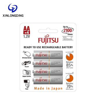 XLD Wholesale Fujitsu nickel-metal hydride rechargeable battery AA 1.2V 4pcs HR-3UTCEX