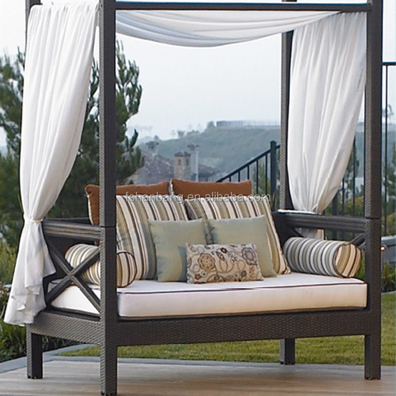 Rattan Daybed Canopy : Canopy daybed outdoor wicker sun sofa lounge modern
