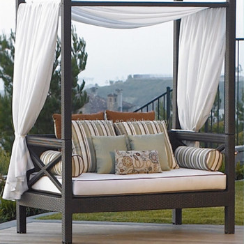 Outdoor Patio Wicker Rattan Sunbed Daybed Furniture Lounger Sofa With Canopy And Pillows