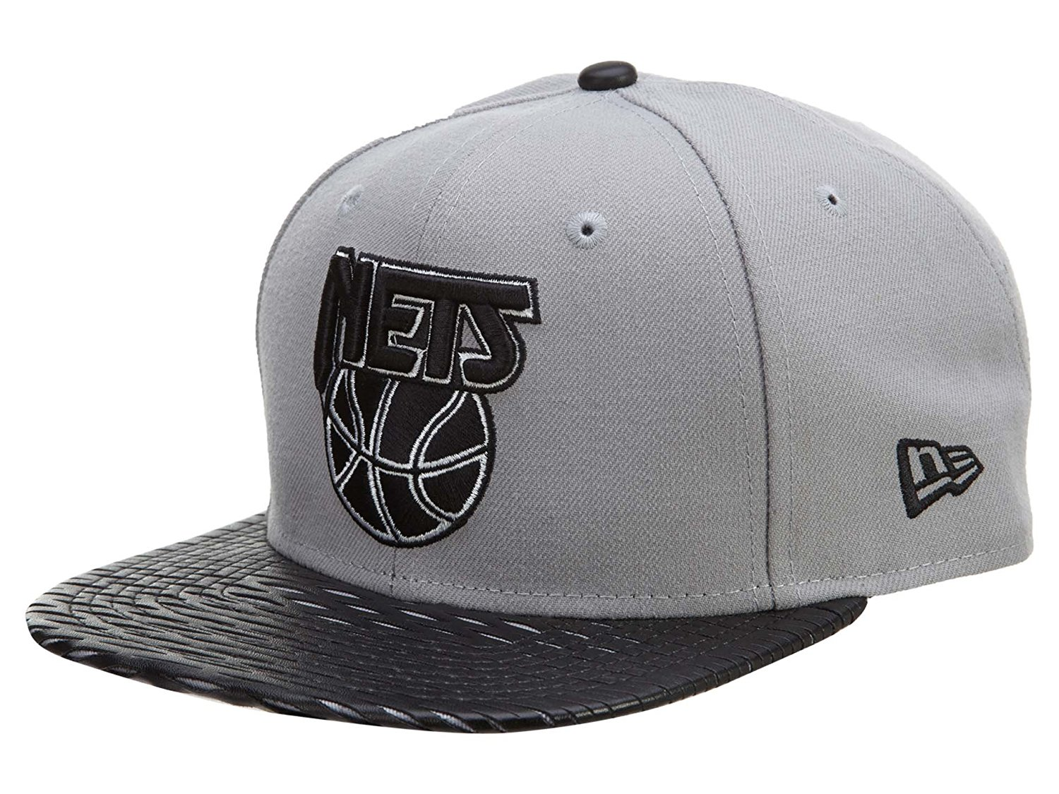 Get Quotations · NBA New Era 9Fifty 950 Leather Rip Brooklyn Nets Snapback  Hat Cap Flat Bill Gray b714ebe94