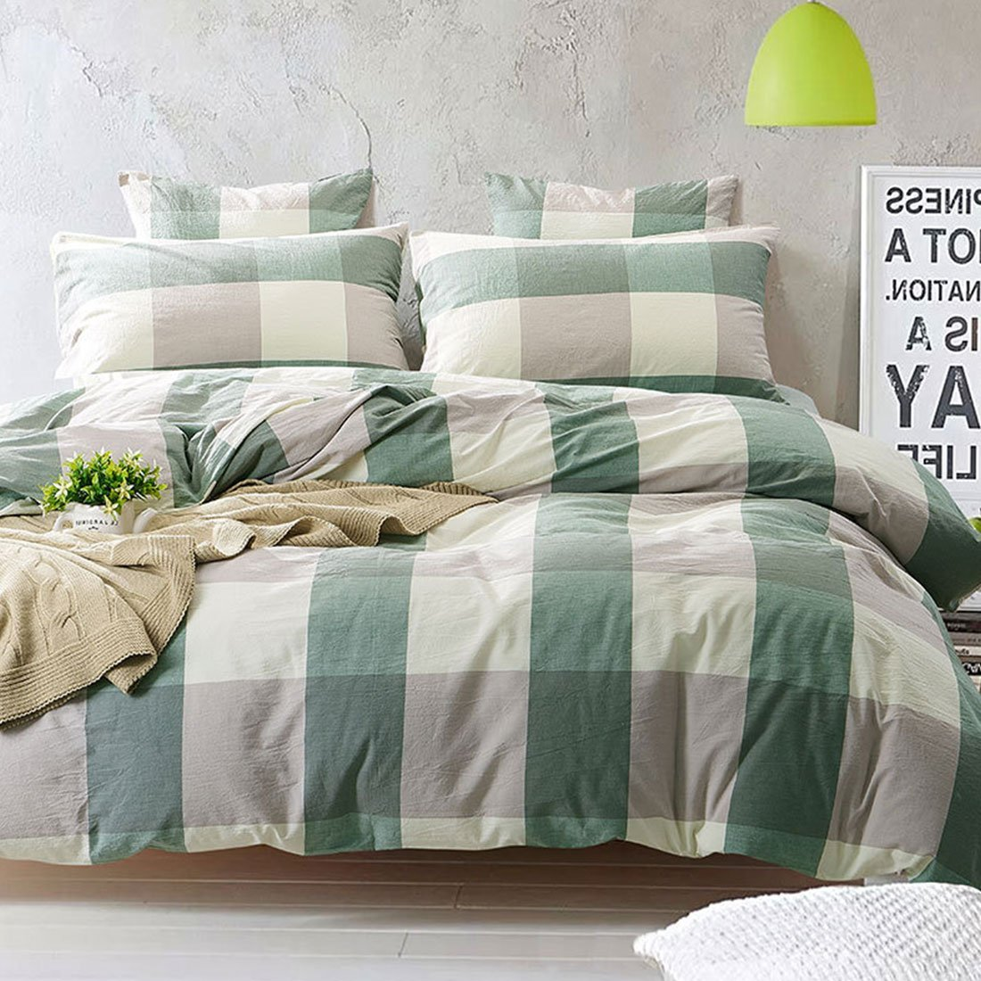 4 Pieces Duvet Cover Set Geometric Pattern Green and White Grid Plaid Bedding Set Comforter Set 1 Flat Sheet 1 Duvet Cover and 2 Pillow Cases by YEHO Art Gallery (Queen Size)