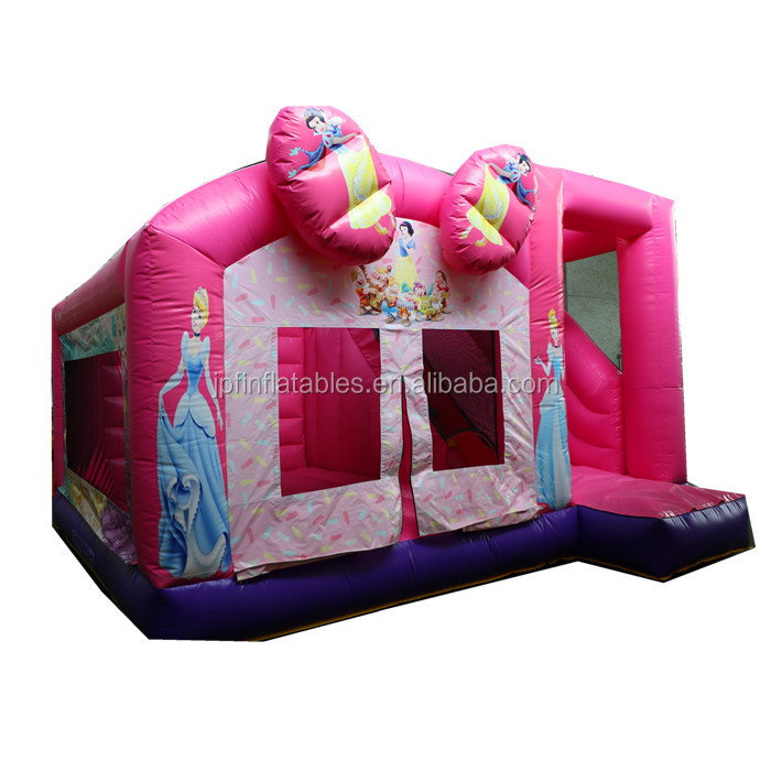 2019 snow white inflatable bouncy house combo with slide for girls party