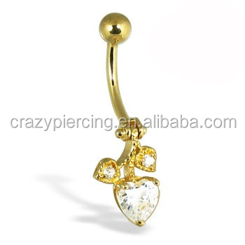 14k Solid yellow gold hinged belly button ring with heart crystal body piericng Jewelry