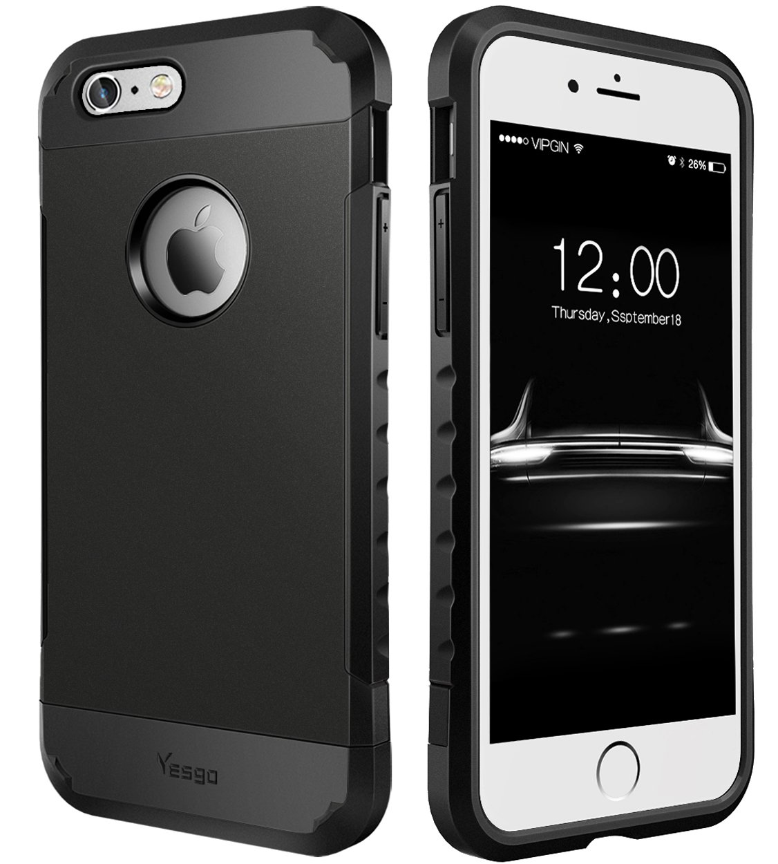 newest collection 56de9 9b822 Yesgo iphone 6s plus case black iPhone 6S Plus Case, iPhone 6 Plus Case,  Dual Layer Heavy Duty Rugged Protective Case for iPhone 6S Plus & iPhone 6  ...