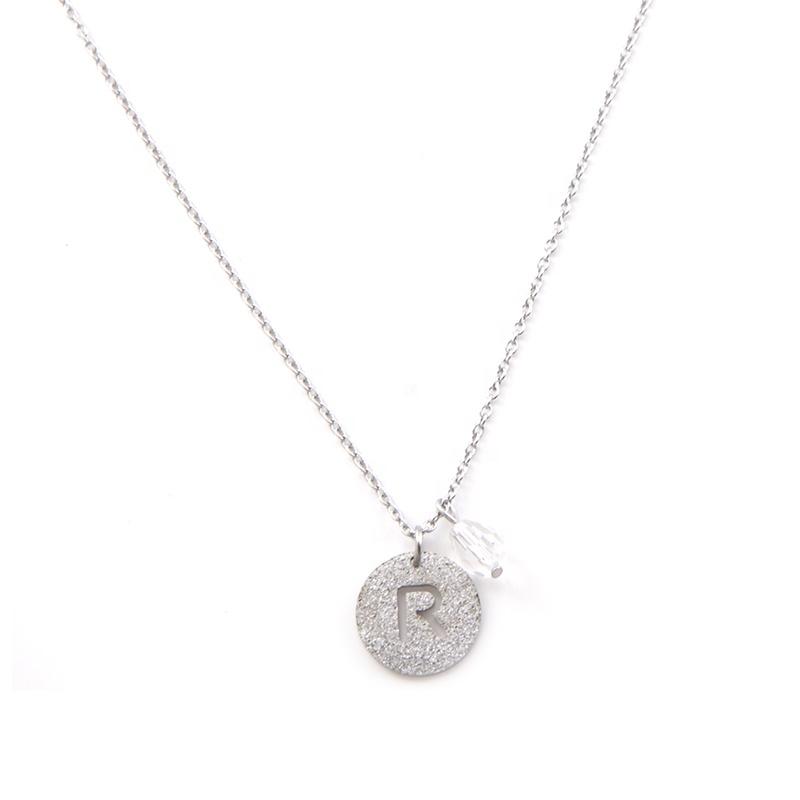 beed41beafa4 Joyería de las mujeres de acero inoxidable carta R collar