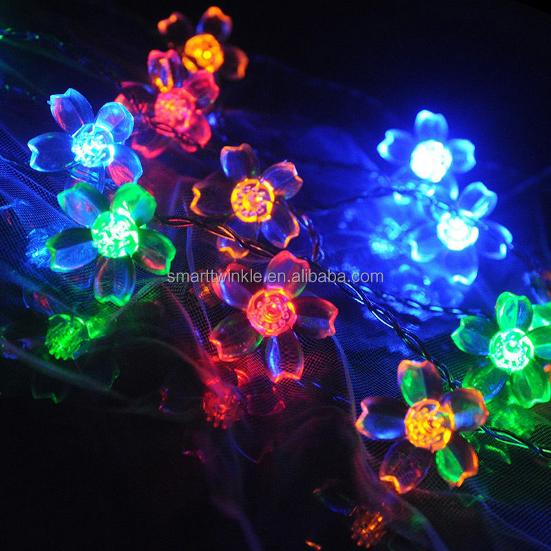 New Multi 6M 50 LED Cherry Blossoms Peach Flower String Fairy Christmas Light Novelty LED String Lights