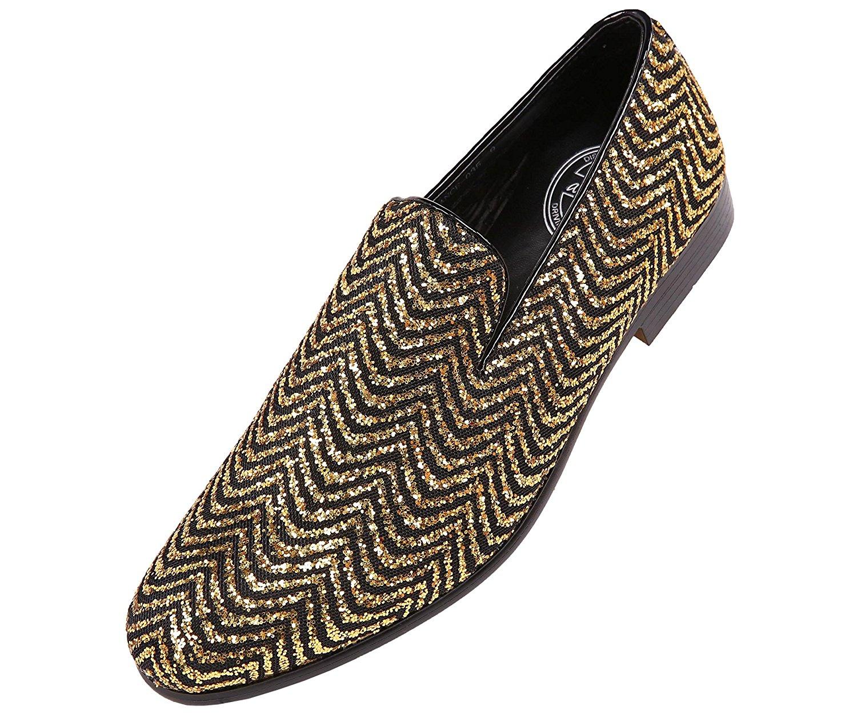 Amali Mens Metallic Sparkling Two Tone Glitter Tuxedo Slip On Smoking Slipper Dress Shoe, Style Vance