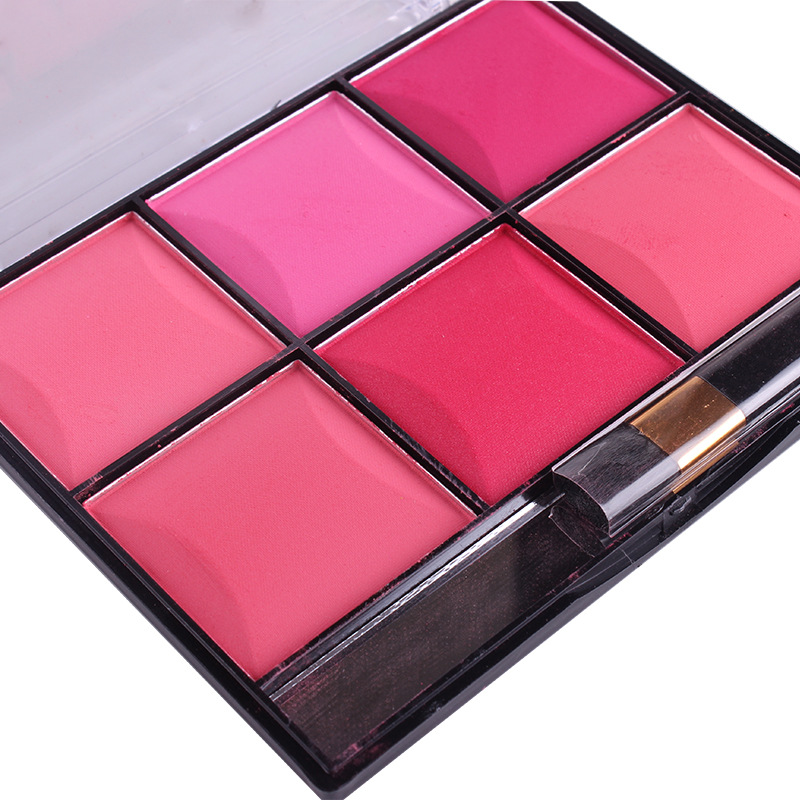 MISS ROSE Professional 6 Colors Red Cheek Color Face Blusher Powder Palette Makeup Base Contour Bronzer Blush with Brush Kits