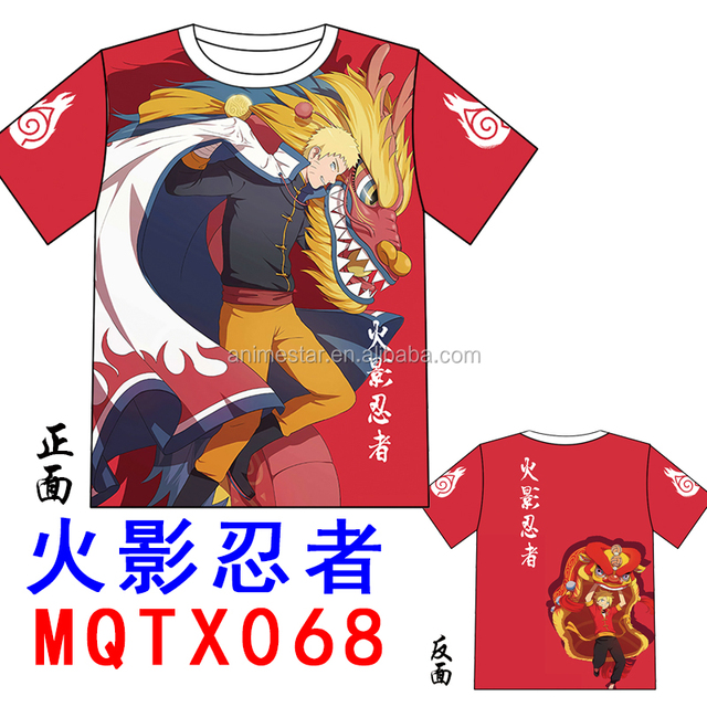 For Boys Costume Color Printing Wholesale Cartoon Naruto Red Short Sleeve Anime T-shirt