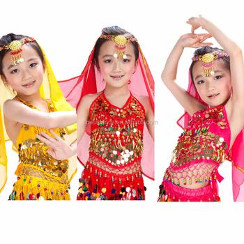 61b5e02850ff Belly Dance Top Dance Costume Kid s Girl s Children Beads Coins Top ...