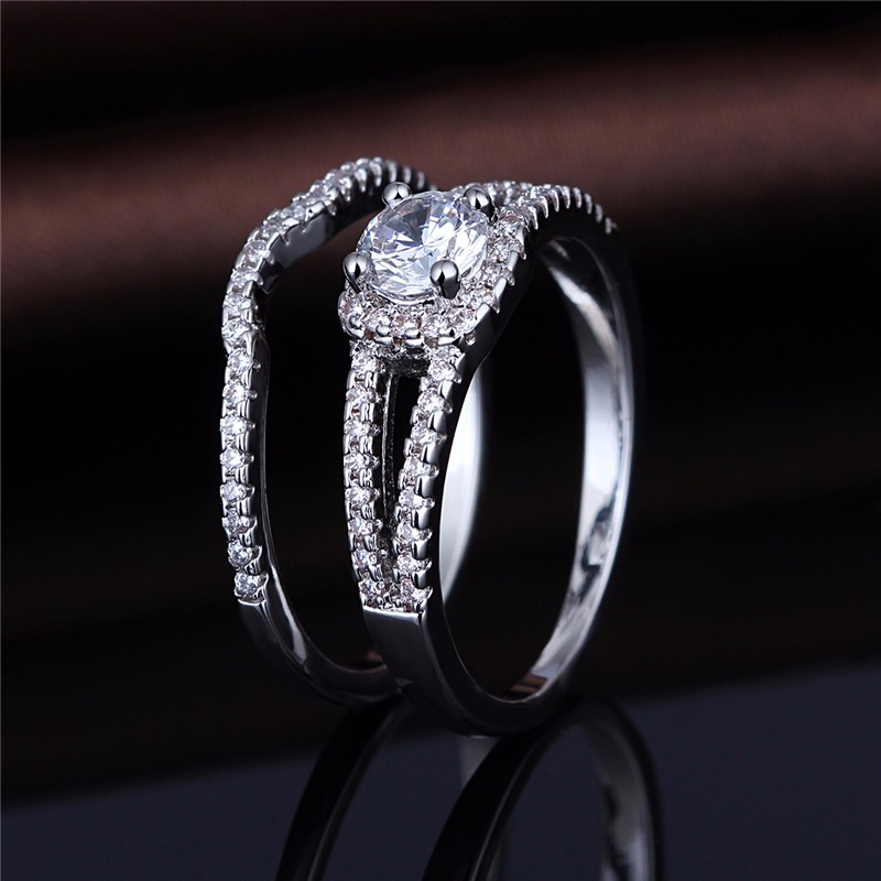 MSR0914 Wholesale 925SS Crystal Wedding Ring for Couple Lovers фото