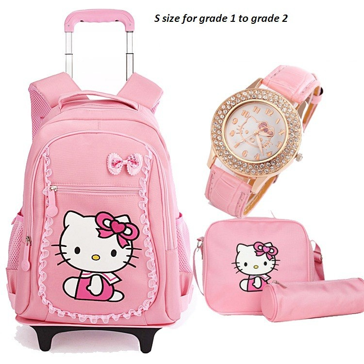 faf384d74f66 Hello Kitty Children School Bags Mochilas Kids Backpacks With Wheel ...