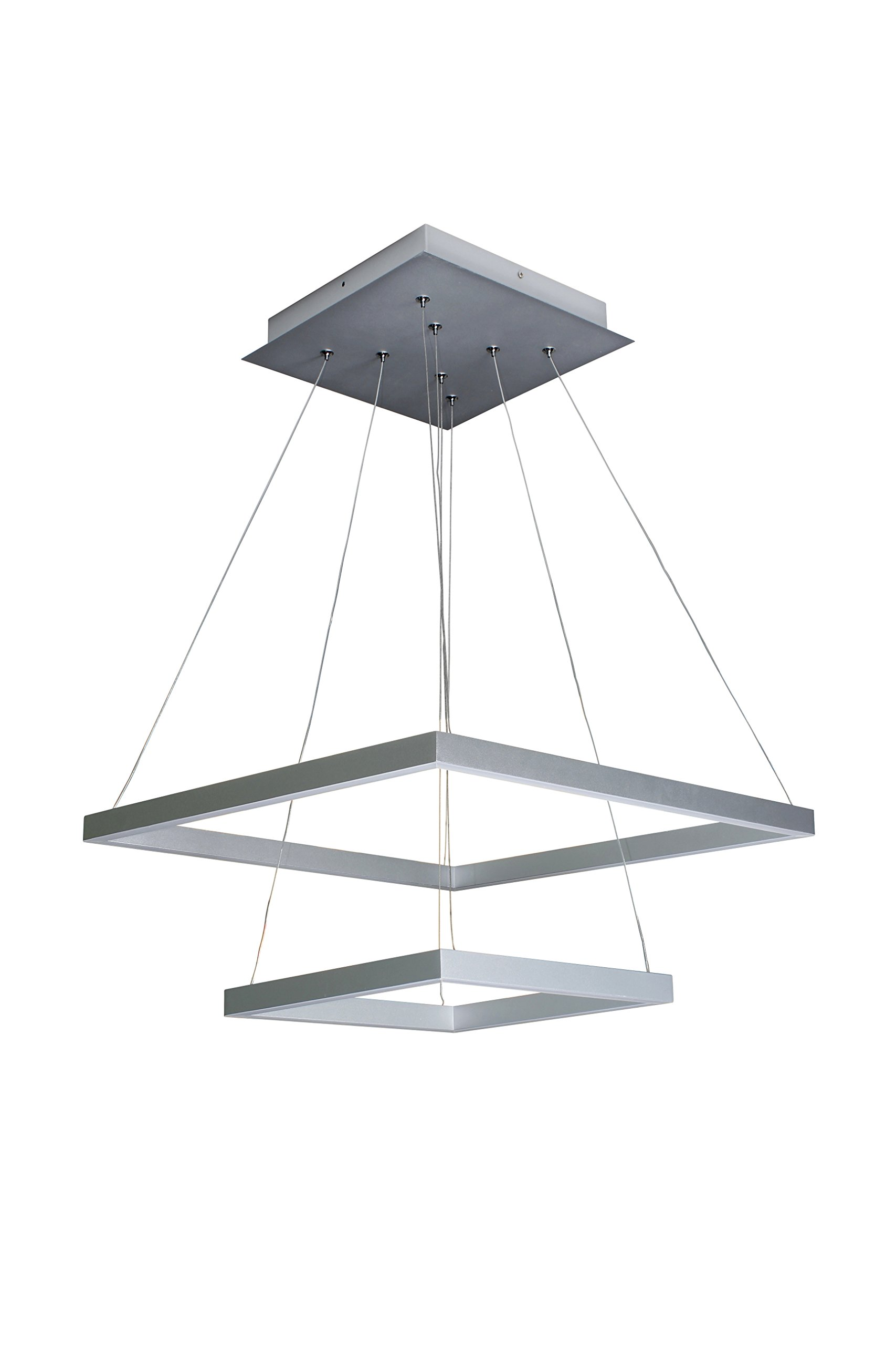 "VONN VMC31720AL Modern Two-Tier Square LED Chandelier Lighting with Adjustable Hanging Light, 19.69"" x 19.69"" x 11.81"", Silver"