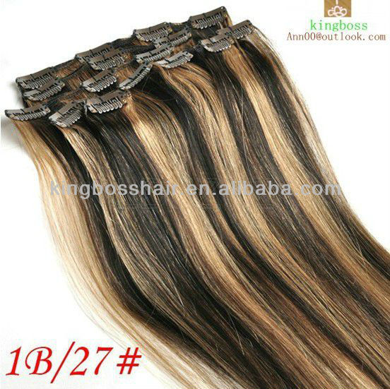 "20"" 50cm 100g clip in 100indian human hair extensions #1B/27black &ginger blonde 7pcs/set"