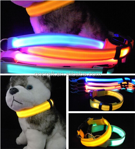 Ajustable los mascotas impermeable LED flash de luz nocturna de seguridad USB recargable LED collar de perro
