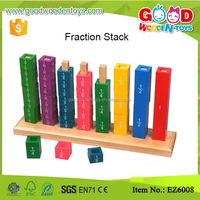 Math Game Wooden Fraction Tower Activity Set Percent Cubes Kids Learning Resources