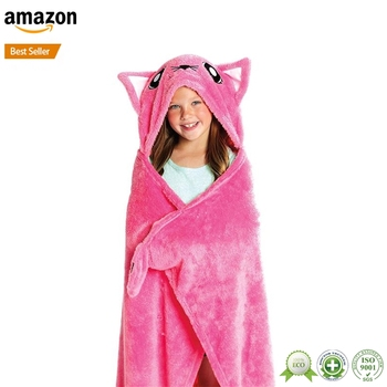 amazon hot sale delicate fluffy large hooded towels for children