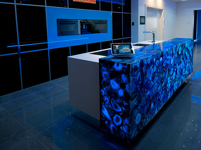 Benutzerdefinierte Küchen Insel Luxus Edelstein Transparent Blau ...