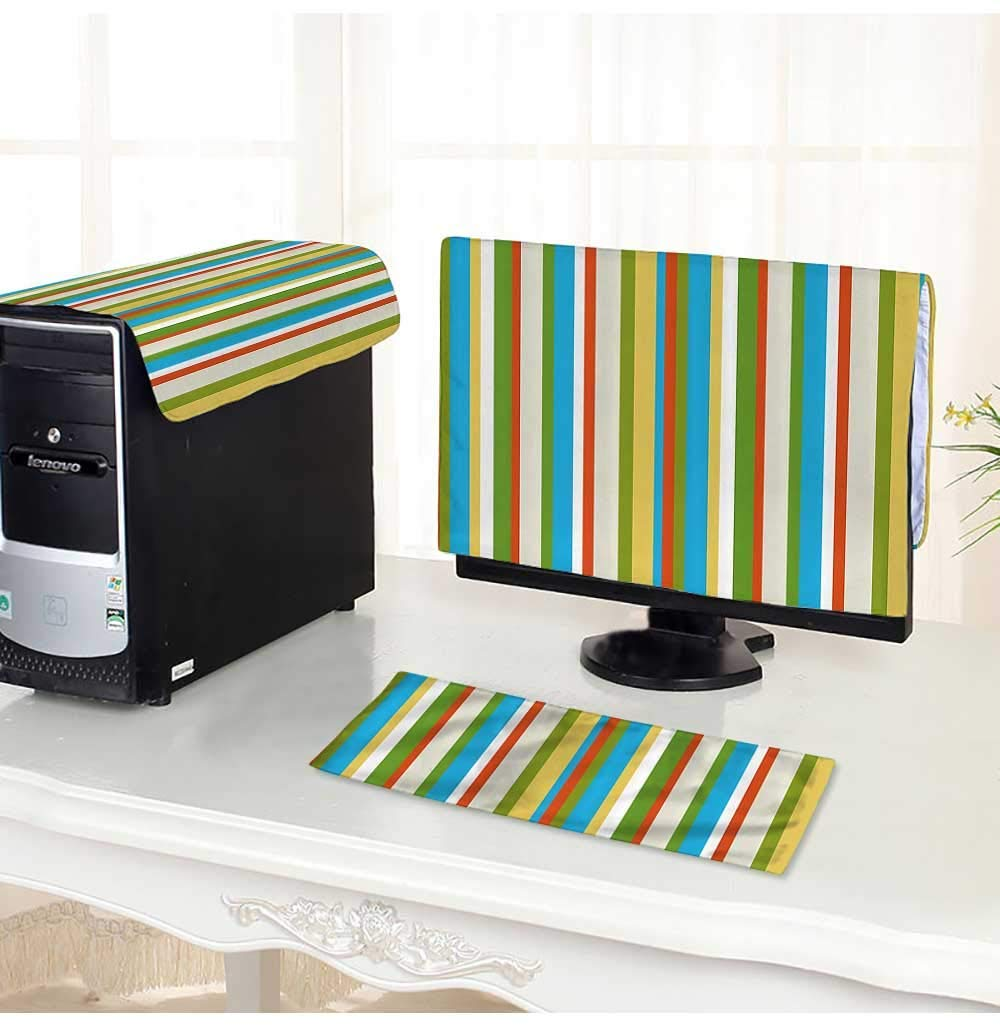 """Leighhome Keyboard dust Cover Computer 3 Pieces Funky Vibrant Spring Color Vertical Lines Ctemporary Kitsch Computer dust Cover /17"""""""