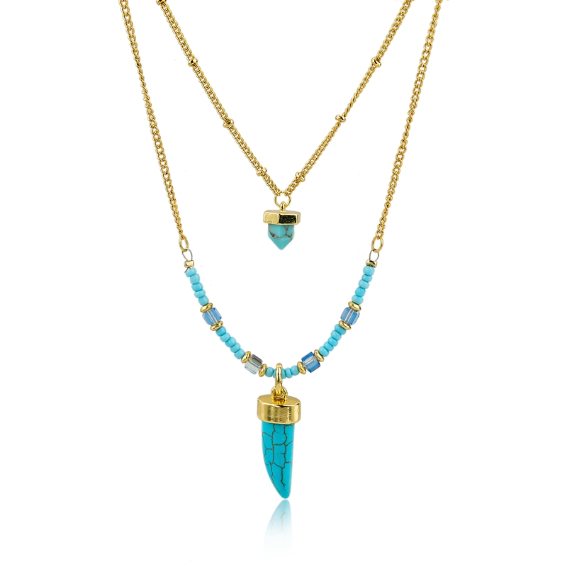 Long Way Gold Plated 2-Layers Chain Necklace Blue Natural Turquoise Beads And Chili Shape Charm Pendant Necklace For Women