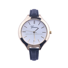 2017 fashion small leather thin strap geneva watch big dial watches for women ladies wristwatches reloj mujer