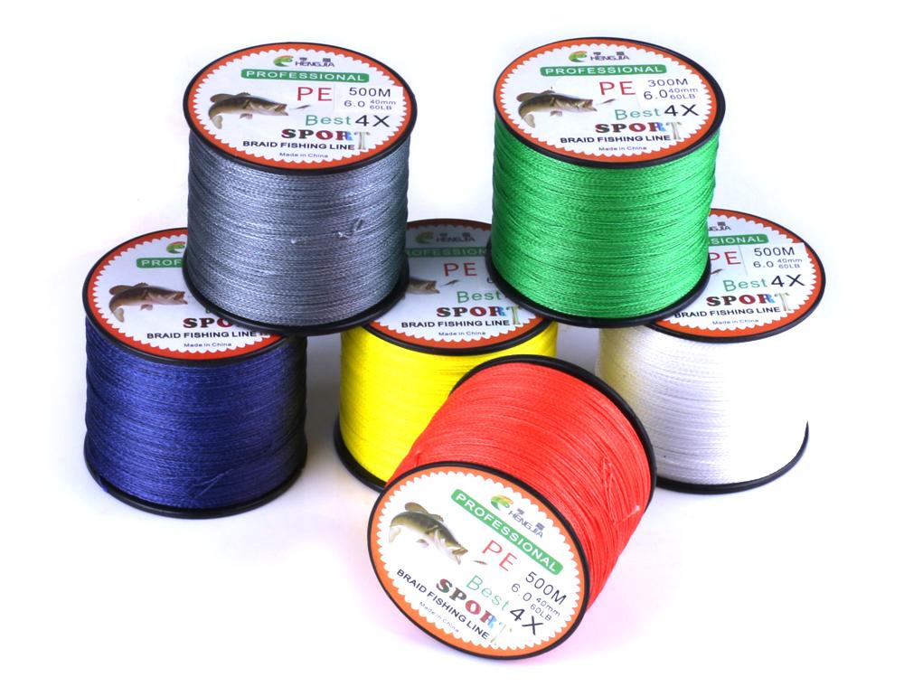 Hengjia 500m 0.26mm Braided Wire Fishing PE fishing line 4 Strands Braided Fishing Line, 6 colors