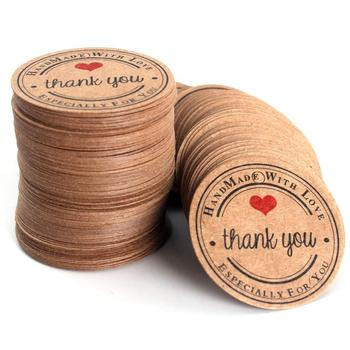 Thank You Tags, Round Kraft Paper Tags for Wedding Favors, Bridal Shower Party Gifts with Natural Jute Twine