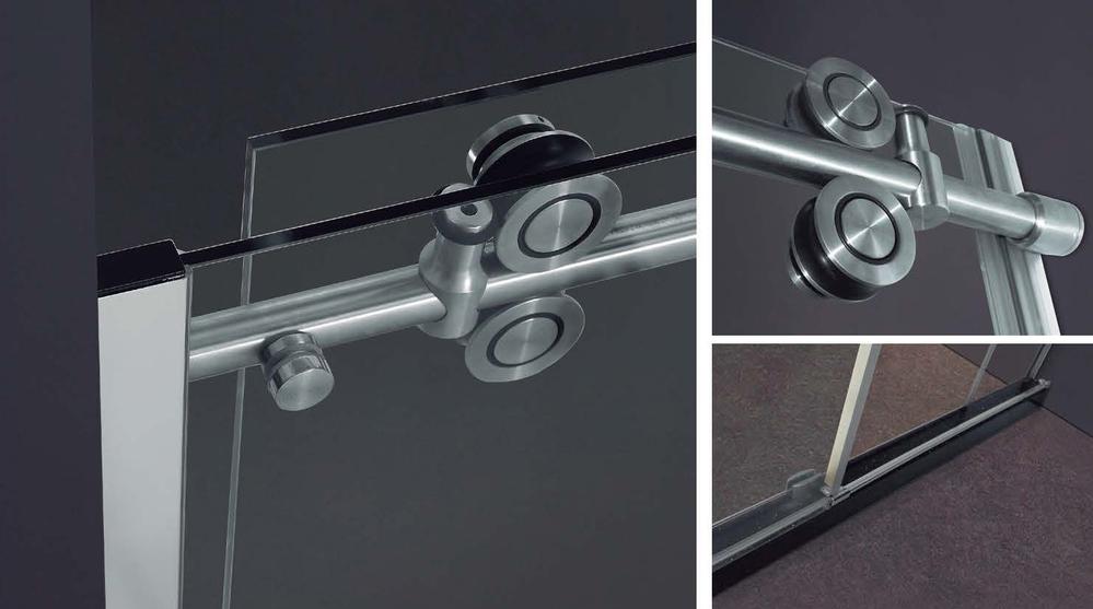 Puerta de ducha de vidrio deslizante de acero inoxidable con diseños de baño KD8013