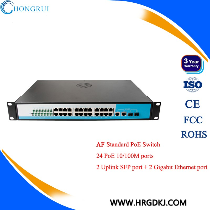 Power over network cat5 cable IEEE802.af 24 port poe switch 48V