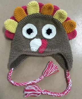 Soft 100acrylic Handmade Knitted Crochet Crazy Turkey Cap Animal