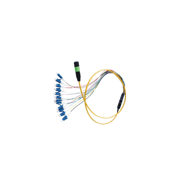 Flat Round UPC MPO Fiber Optic Patch Cord SC LC with 12 Core Ribbon Cable