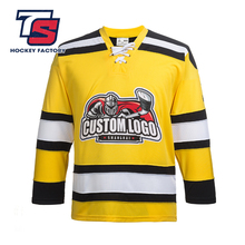Custom Embroidery Inline YELLOW Hockey Jersey100% Polyester Hockey Jersey