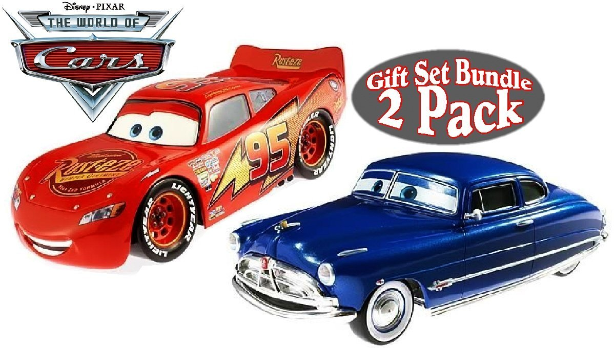 Disney/Pixar Cars Lightning McQueen & Doc Hudson (Hudson Hornet) Collectible 1:24 Scale Die-Cast Cars Gift Set Bundle - 2 Pack