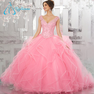 Sequined Beading Crystal Quinceanera Pink Dress Ball Gown