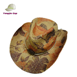 fc71aff18 wholesale Painted Woven Summer Straw Western Cowboy Hats with Medallion