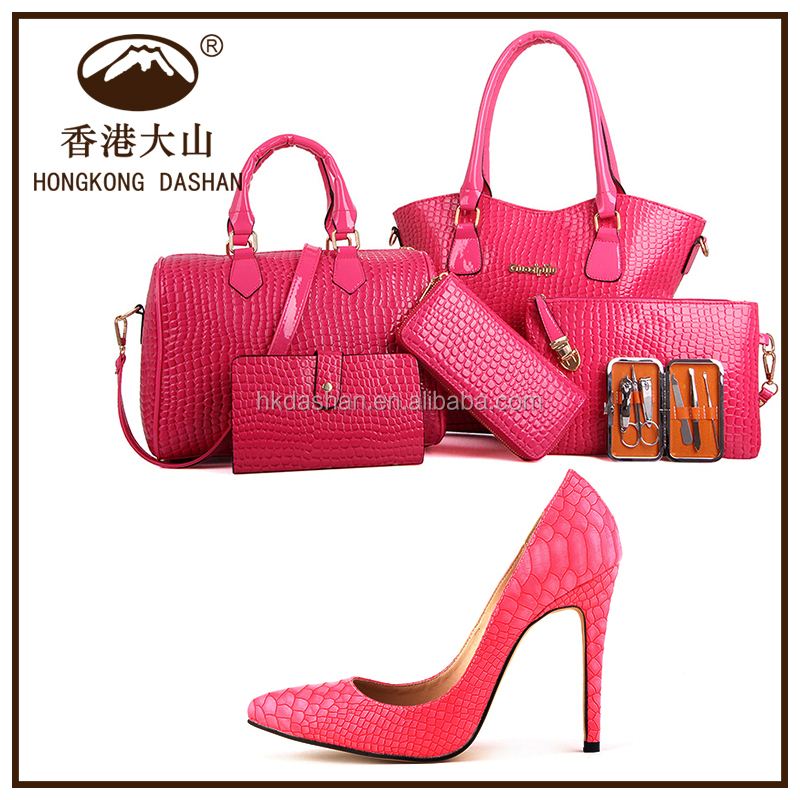 Y71 2018 Rose Gold Fashion Simple And Stylish Fancy Las Shoes Bags Set For Party