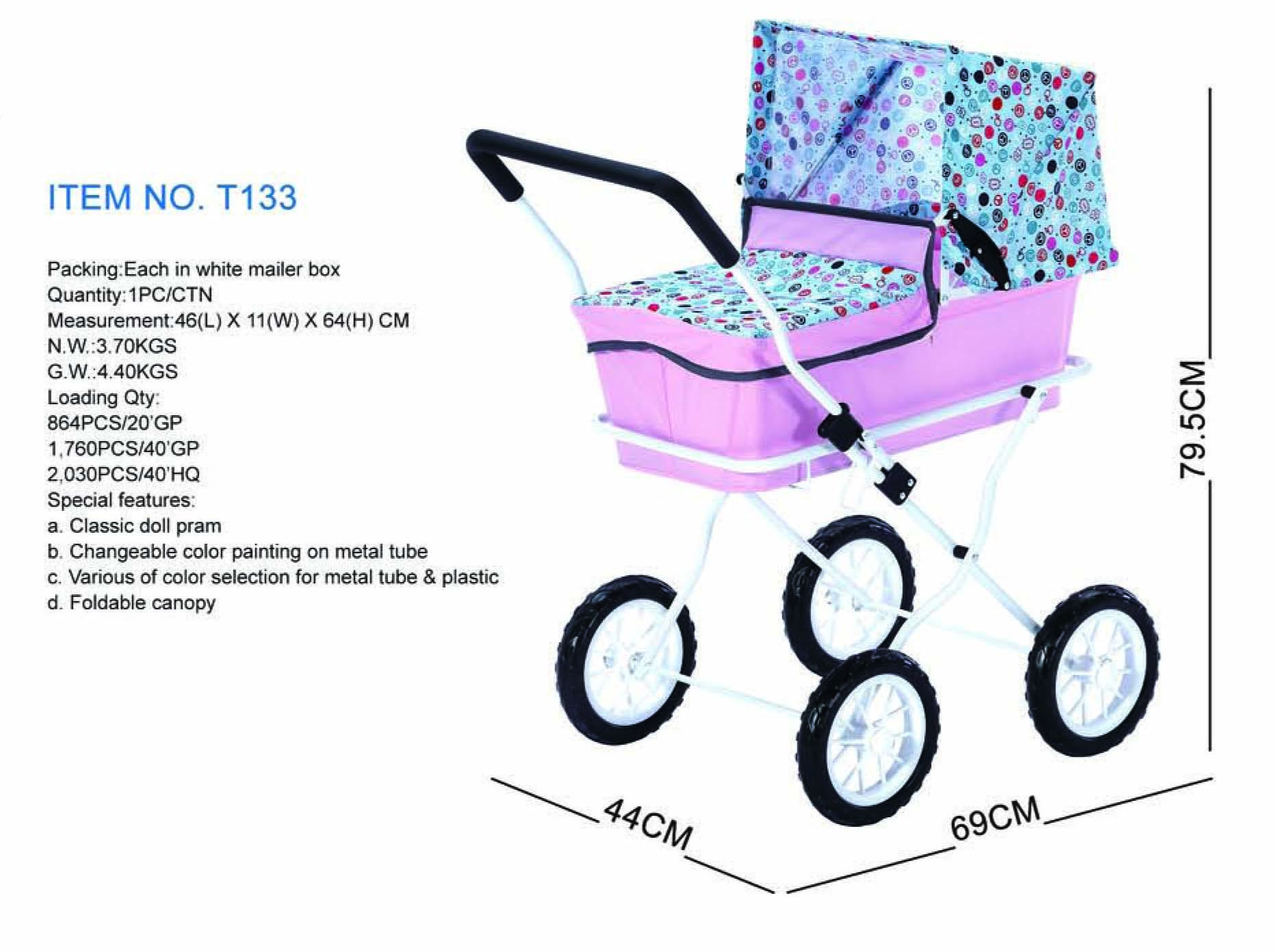 Best quality foldable doll stroller doll pram large wheel 2018