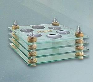 Judaica Kingdom CJA-HP1060-ST-C Akko - Jerusalem Stone Glass Seder Plate Lamp, Matzah Tray Combo