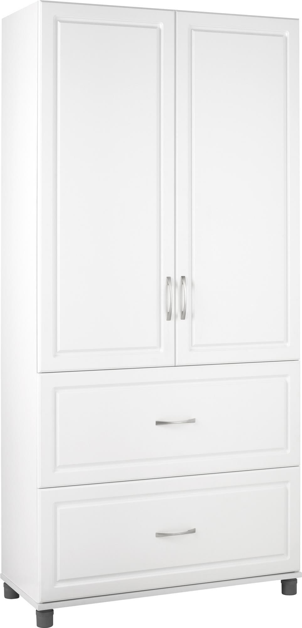"""SystemBuild Kendall 36"""" 2 Door/2 Drawer Storage Cabinet, White Stipple"""
